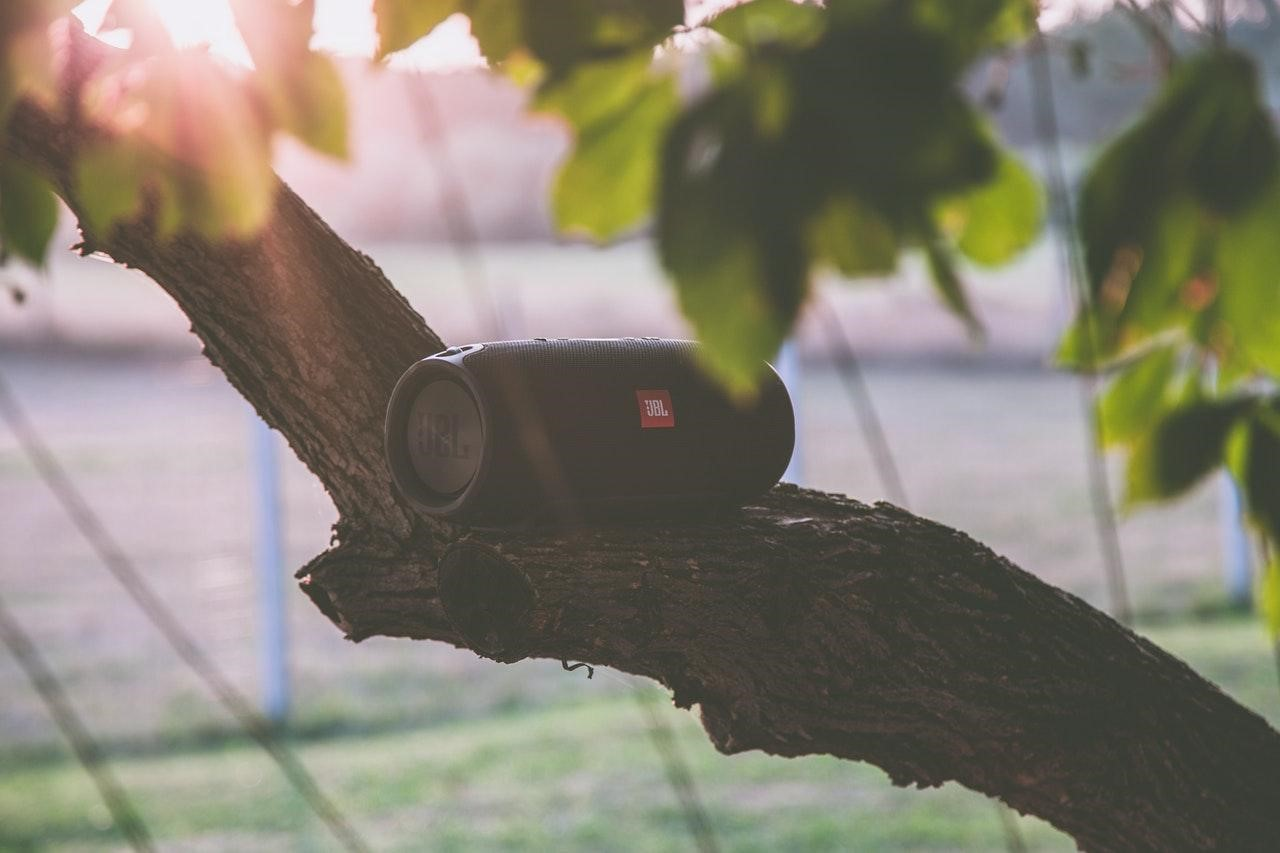 JBL speaker in the backyard, great sound outdoor speakers