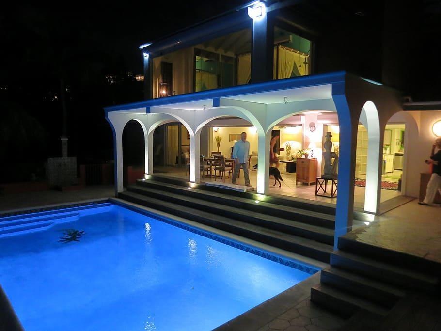 LED pool light-night-house-villa