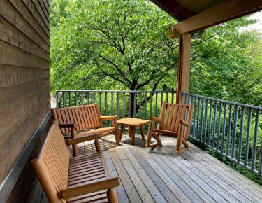 lodge wooden deck chairs