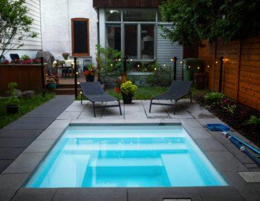 small relaxing backyard swimming pool